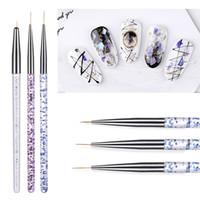 Wholesale pen stripe resale online - 9 mm set Nail Art UV Gel Brush Crystal Acrylic Thin Liner Drawing Pen Painting Stripes Flower Nail Kit Tools