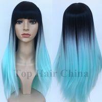 ingrosso eleganti parrucche nere-Top hair Cina New Stylish Lolita Long BOB Capelli Lisci Parrucche Sintetiche Parrucche Piene Parrucche Con Scoppi Afroamericani Parrucche Nere in magazzino
