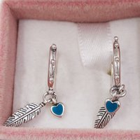 Wholesale 925 sterling silver feather charms for sale - Group buy Authentic Sterling Silver Studs Spiritual Feathers Dangle Earrings Turquoise Enamel Fits European Pandora Style Studs Jewelry EN