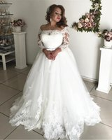 Wholesale wedding dresses small trains for sale - Group buy Plus Size Lace Wedding Dresses Long Sleeves Boat Neck Small Bow Sash Hollow Back A Line Elegant New Bridal Gowns Custom Size