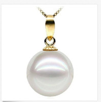 Wholesale south sea pearl pendant white resale online - 14K Yellow Gold Perfect Round mm White South Sea Pearl Pendant