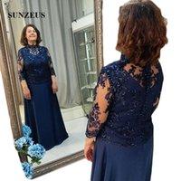marineblau mütter kleid großhandel-Dunkelblaue Chiffon-Kleider für die Bräutigammutter in Übergröße Kleid für die Brautmutter in A-Linie mit Wickelform für Damen