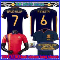 camisetas de torres al por mayor-2010 España camiseta de fútbol Retro camiseta de fútbol Vintage clásico antiguo uniforme TORRES XAVI A.INESTA DAVID VILLA 1994 Spani retro jersey