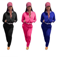 Wholesale standing collar coat pant for sale - Brand Designer women sportswear jacket leggings tracksuit Embroidery coat pant piece set outfits lady clothes crop top sweatsuit
