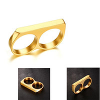 Wholesale titanium knuckle dusters resale online - Titanium Steel Gold No knuckle dusters Three color Double finger Double Ring Ring Refers To Tiger Jewelry Self defense