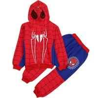 ingrosso tuta sportiva-3-8y Spiderman Neonati maschi Set di abbigliamento Tuta sportiva in cotone Bambini Moda Cool Spider Man Costume Cosplay Bambini Tuta Vestiti Y190518