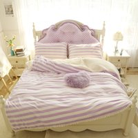 Wholesale twin size girl beds online - Purple pink blue white stripe girls bed set thick fleece winter warm bedding set twin queen king size bed skirt duvet cover set