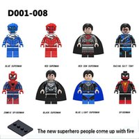 Wholesale super hero suit blue online – ideas Super Heroes Blue Red Black Superman Racing Suit Tony Zombie Spiderman Collection Children Toys Gifts D001
