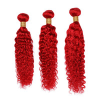 Wholesale indian remy wavy hair weave for sale - Group buy Pure Red Deep Wave Human Hair Weaves Extensions Bundles Bright Red Deep Wavy Virgin Indian Remy Human Hair Wefts quot Mixed Length