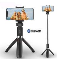 handheld-einbeinstativ großhandel-3 in 1 drahtloser Bluetooth Selfie Stock für iPhone 8 x 7 6s plus faltbares Handeinbeinstativ-Fensterladen-Fernausziehbares Ministativ