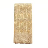 ingrosso merletto netto ricamato-Tessuto di pizzo nigeriano dorato 2018 Tessuto di pizzo ricamato di alta qualità con perline Swiss Net Polyester 2019 Ultimo tessuto di pizzo per feste