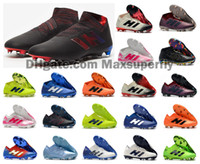 Wholesale messi outdoor red soccer shoes resale online - New Nemeziz FG tic Messi Mens x Football Shoes Agility Bandage Spectral Mode Soccer Boots Cleats Size US6