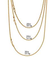 18k gold gefüllte männer großhandel-18 Karat vergoldete Edelstahlseilkette Rapper's 3mm 20/24/30