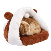 Wholesale fleece toys for sale - Group buy Cute pet cat kitten beds sleep bags with toy playing balls cat sleep bag soft fleece Pet Supply