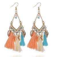 boho tarzı mücevherat toptan satış-Kadınlar Için Bohemian Küpe Boho Stil Kadın Püskül Küpe Kadın Takı Gelin Saçaklı Vintage Uzun Earrinng