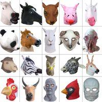 polvo de festa venda por atacado-Creepy Horse Lion Polvo Hipopótamo De Borracha Máscara Animal Partido Látex Panda Máscara Animal Partido Dos Miúdos do Dia Das Bruxas Masquerade Máscara Engraçado