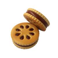 Wholesale biscuit designs resale online - Tobacco Custom Cute Design Cookie Herb Grinder Smoking Accessories zinc alloy biscuits cookie metal herb grinder