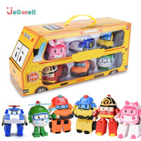 Wholesale anime robots toys for sale - Group buy Set Of Poli Car Kids Robot Toy Transform Vehicle Cartoon Anime Action Figure Toys For Children Gift Juguetes J190525
