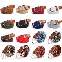 ingrosso donne intrecciate-Unisex Elastic Elasticizzato Vita con 40 donne di colori casuali intrecciato il cinturino creativo Mens tessuto della tela di canapa Pin Belt Buckle TTA-1061