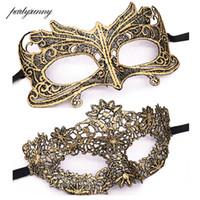máscara de encaje dorado veneciano al por mayor-Mascarada Oro Púrpura Azul Máscara de encaje Recorte de Halloween Máscara de fiesta de baile Máscara de ojos sexy Máscaras venecianas Favor de fiesta
