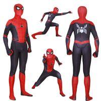 ingrosso costumi da supereroe del capretto di zentai-Adult Kids Spider Man Lontano da casa Peter Parker Costume Cosplay Zentai Spiderman Supereroe Tute Suit Tute Q190428