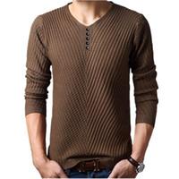suéteres de navidad con cuello en v al por mayor-Invierno Henley Neck Sweater Hombres Cashmere Pullover Christmas Sweater Mens Knitted Sweaters Pull Homme Jersey Hombre M-4XL