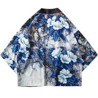 синий цветочный жакет оптовых-Рубашки Harajuku Цветочная куртка кимоно Японский хип-хоп Мужская уличная куртка Синие листья с цветочным принтом 2019 Летнее тонкое платье в японском стиле