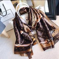 moda clássica elegante venda por atacado-2019 moda de boa qualidade clássico europeu marcas de designer de impressão das mulheres lenço de seda elegante senhoras envoltório lenços tamanho 180x90 cm