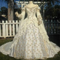Wholesale medieval ball gown wedding dress resale online - Vintage Ivory Medieval Arabic Wedding Dresses Princess Ball Gown Gothic Wedding Dress With Lace Off The Shoulder Bridal Gowns