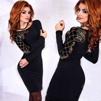 siyah kol kolları toptan satış-Siyah Kol Mahkemesi Tezhip Baskı Uzun Kollu Tişörtlü Elbise