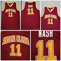 faculdade rápida venda por atacado-NCAA Faculdade de Santa Clara 11 STEVE NASH Jerseys Mens Camisa De Basquete Do Vintage 100% Costurado Colégio Basquete Jerseys S-3XL Transporte Rápido