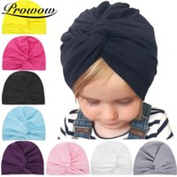 Wholesale newborn cotton hat pink resale online - PROWOW Solid BabY Girl Beanie Solid Cotton Turban Cap Toddler Infant Wrap Hats Soft Baby Accessories Newborn Photography Props