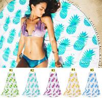 goblen battaniyeleri toptan satış-Hint Yuvarlak Mandala Goblen Açık Piknik Battaniye Plaj Havlusu Plaj Havlusu MMA1829 Yo-ga Mat Ananas serisi Atın