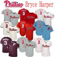 baseball jerseys großhandel-2019 neue Phillies 3 Bryce Harper Jersey Männer Frauen Jugend Baseball Jerseys Genäht Weiß Rot Grau Creme Blau