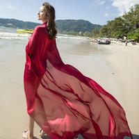ingrosso asciugamani satinati-2019 Asciugamano da spiaggia in puro raso di seta moda, scialle super lungo Sciarpe di seta morbide da donna alla moda