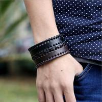 mücevherat deri toptan satış-çekicilik Öğrenci alternatif bilezik içinde geçmeli deri bileklik erkeklerle kadınlar için Vintage el örgüsü bileklik deri Mücevher