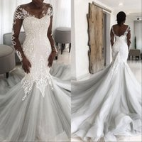Wholesale long lace dresses tail for sale - Group buy African Lace Illusion Back Mermaid Wedding Dress Princess Muslim Long Tail Wedding Gowns With Sleeves