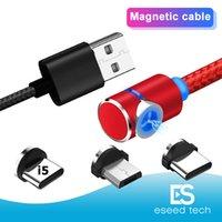 cable magnético usb tipo c al por mayor-3 en Magnetic cable cargador LED de nylon fuerte del metal imán Cable cable USB tipo C 1M 2M Micro 1 de 90 grados para Samsung S10 Nota 10 LG Android