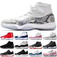 sapatos de basquete rosa para mulheres venda por atacado-Nike Air Jordan 11 Retro Drake 11 Marinha Pele De Cobra Rosa 11s Concord 45 Homens Mulheres Sapatos de Basquete Cap e Vestido Criados Platina Matiz Mens Esporte Tênis de