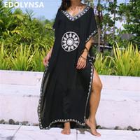 yarım kaftan elbisesi toptan satış-Siyah Indie Halk Baskılı V Yaka Yarım Kollu Yan Bölünmüş Ayak Bileği Uzunluğu Kadın Yaz Kaftan Plaj Kıyafeti Pamuk Elbise Artı Boyutu N643