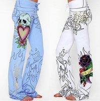 moda mulheres baggy calças venda por atacado-Calças compridas Hippie Ampla Perna Boho Azul Calças Brancas Flor Moda Feminina Baggy Crânio Rosa Calças de Cintura Alta