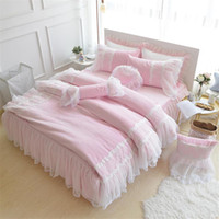 Wholesale princess bedding queen girls for sale - Group buy Pink Purple Blue Princess style Girls Bedding set Fleece Winter Duvet Cover Set with Lace Edge Twin Queen King size Bedskirt
