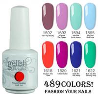 geles de uñas de colores al por mayor-El esmalte de uñas de 12pcs / lot Harmony Gelish empapa del polaco ULTRAVIOLETA de Gelcolor de los colores del polaco de Gelcolor ¡colores 489!