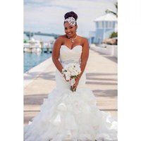 Wholesale strapless ruffle organza mermaid wedding dress for sale - Group buy Gorgeous Ruffle Organza Mermaid Plus Size Wedding Dresses Africa Tiers Beads Sash african Country Bridal Gown Train Bride Dress Custom