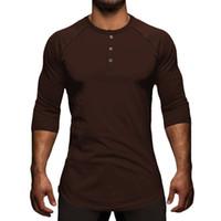 partes superiores à moda da camisa dos homens venda por atacado-Homens Sólidos Três Quater Camiseta Henley Collar Elegante Streetwear Camiseta Básica Moda Ganhos Tshirt Masculino Roupas Tops Tee S-XL