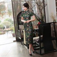 geleneksel sıcak kıyafetler toptan satış-Sıcak Satış Saten Cheongsam Geleneksel Çin Yüksek Kalite Çin Bayanlar Qipao Silm Kısa Kollu Yenilik Uzun Elbise S-3XL J0026