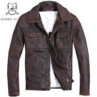 vintage кожаный мотоцикл куртка коричневый оптовых-Плюс Размер натуральной верхней коровы кожаная куртка мужчины куртка бомбардировщик красновато-коричневый дистресс винтаж карман S 5XL пальто одежда для мотоциклов