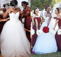 Wholesale beach wedding dresses fast resale online - Plus Size Wedding Dresses African Style Sweetheart Beads A Line Tulle Floor Length Wedding Gowns Fast Delivery Black Girl Bridal Dress