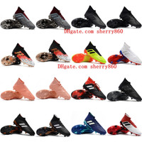 ayak bileği ayakkabıları toptan satış-2019 ucuz erkek futbol ayakkabıları Predator 18.1 FG yüksek ayak bileği futbol cleats Predator 18 hızlandırıcı tango futbol ayakkabısı yeni Tacos de futbol