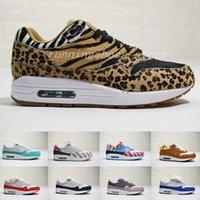 sale retailer 5cee9 c59f5 Nike Air Max 1 airmax 1 DLX ATMOS 1 87 Parra Sean wotherspoon Air Bleu  Hommes Chaussures De Course Animaux Pack 1s 87s Leopard Classique  Athlétique Femmes ...
